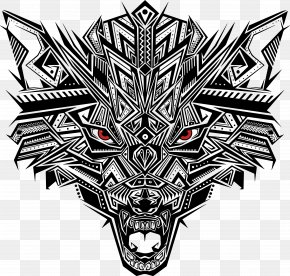 Black Abstract Puzzle Wolf Head - Euclidean Vector PNG
