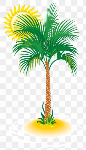 Palm And Sun Clip Art Image - Arecaceae Tree Clip Art PNG