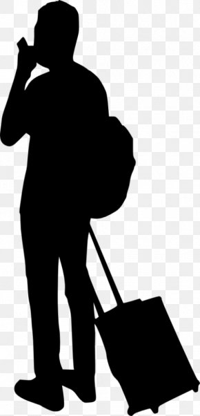 People With Luggage - Silhouette Clip Art PNG