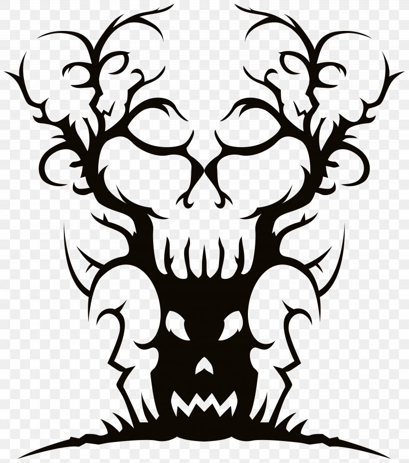 Tree Spooky Halloween Clip Art Png 5359x6065px Tree Art Artwork Black Black And White Download Free