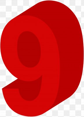 Number Nine Red Clip Art Image - Red Circle Design Clip Art PNG