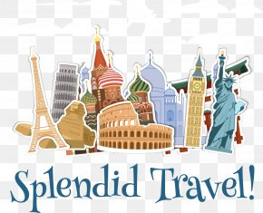 Vector Cartoon Tourist Attractions - Travel New7Wonders Of The World Landmark Monument PNG