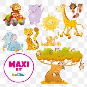 Safari Kids - Wall Decal African Lion Safari Giraffe Sticker PNG