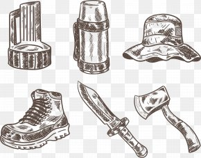 Hand-painted Kettle Hat With Ax Set Of Shoes - Icon PNG