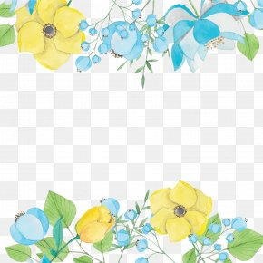 Elegant Watercolor Flowers Decorative Background Vector - Watercolor Painting Blue Download PNG
