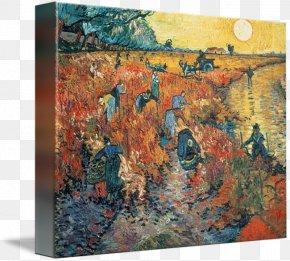 Posters PaintingVincent Van Gogh - The Red Vineyard Irises Langlois Bridge At Arles Van Gogh PNG