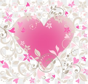 Vector Pink Flowers Heart - Heart Flower Valentines Day Illustration PNG