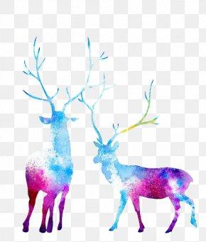 Deer - Reindeer Moose Watercolor Painting PNG