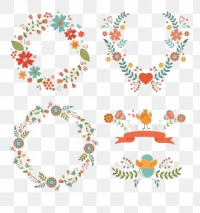 Floral Decorations; Easter Motifs - Flower Easter Wreath Clip Art PNG