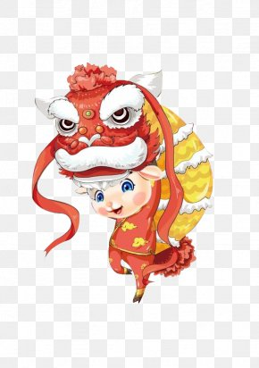 Chinese New Year Dragon - Dragon Dance Chinese New Year Cartoon Lion Dance PNG