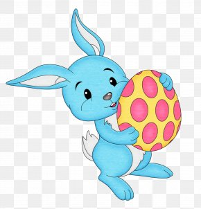 Easter Blue Bunny With Egg Transparent Clipart - Easter Bunny Easter Egg PNG