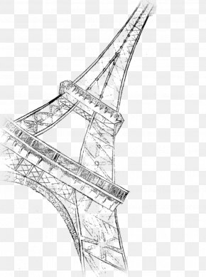 Eiffel Tower - Eiffel Tower Drawing Painting Line Art Sketch PNG
