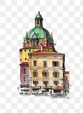 Cartoon Hotel Building - Watercolor Painting Drawing Architecture Sketch PNG