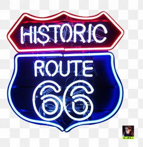 Light - U.S. Route 66 Neon Sign Neon Lighting Logo PNG