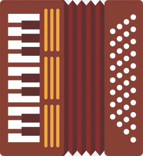 Vector Color Hand-painted Accordion - Diatonic Button Accordion Musical Instrument PNG