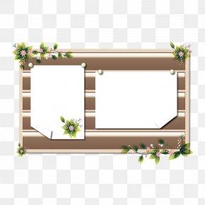 Floral Decoration Wooden Border - Picture Frame Clip Art PNG