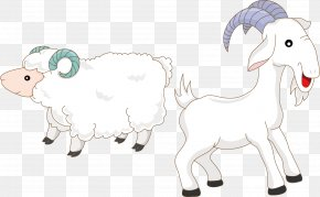 Goats And Sheep Cartoon Vector Material - Goat Sheep PNG