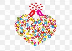 Flower Love And Two Love Birds - Lovebird Heart Pattern PNG