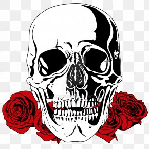 Skull - Skull T-shirt Bone Drawing Rose PNG