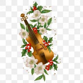 Violin And Flowers - Violin Greeting Card Christmas Card Wedding Invitation PNG
