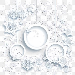 Literary Beautiful White Christmas Card Element - Christmas Card Snowflake White Christmas PNG