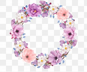 Purple Watercolor Wreath - Floral Design Watercolor Painting Flower Clip Art PNG