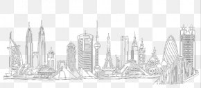 Line Drawing Of Famous Buildings In London - Black And White Brand Structure Pattern PNG