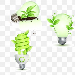 Leaves And Bulb Idea Vector Material - Incandescent Light Bulb Energy Conservation Lighting PNG