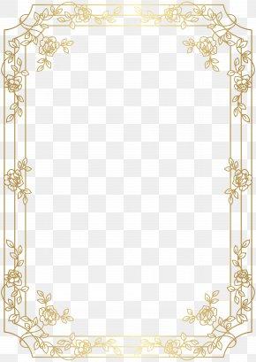 Deco Border Frame Clip Art - Gold Red Clip Art PNG