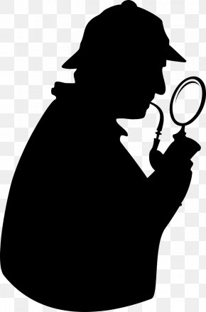 Magnifying Glass - Sherlock Holmes Doctor Watson Silhouette Clip Art PNG