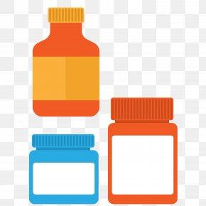 Vector Flattened Color Hospital Medicine Bottle - Hospital Flat Design PNG