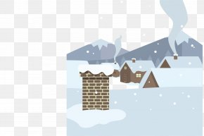 Housing Material Winter - Roof Cartoon House Snow PNG