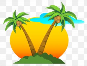 Palms And Sun Vector Clipart - Summer Clip Art PNG