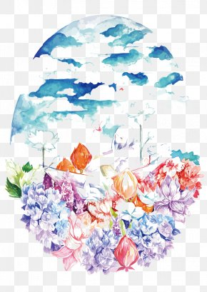 Vector Watercolor Sky Under The Flowers - Floral Design Flower Bouquet Watercolor Painting Sky PNG