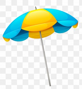 Yellow Blue Beach Umbrella Clipart - Umbrella Beach Clip Art PNG