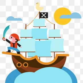 Hand Painted Pirate Ship - Cartoon Ship Piracy Illustration PNG