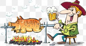Barbecue Cartoon - Pig Roast Barbecue Roasting Clip Art PNG