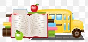 Car Vector Material School Book - Bus School Cartoon Clip Art PNG