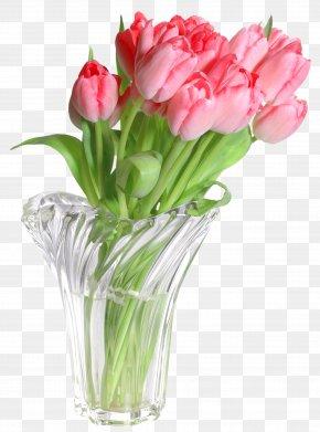 Pink Tulips In Vase Clip Art Image - Vase Clip Art PNG