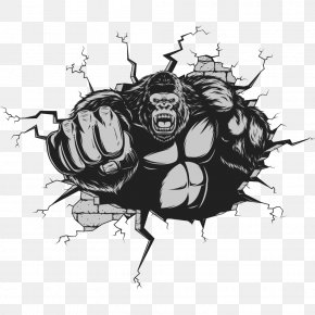 Punches Gorilla - Gorilla Ape King Kong Cartoon PNG