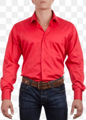 Red Dress Shirt Image - Long-sleeved T-shirt Fashion PNG