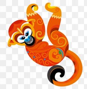 Orange Cartoon Monkey - Monkey Cartoon Clip Art PNG