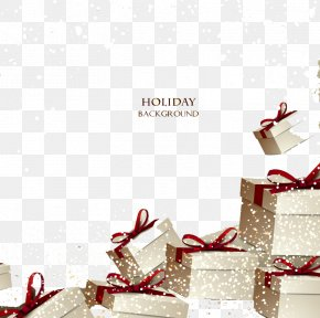 Holiday Gift Box Background Vector Material - Christmas Gift Gift Card Voucher PNG