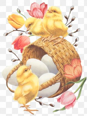 Easter Basket With Eggs Chickens And Tulips PNG