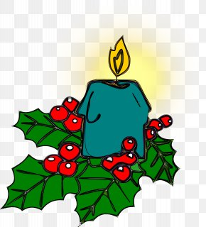 Burning Blue Candle - Common Holly Christmas Ornament Candle Clip Art PNG