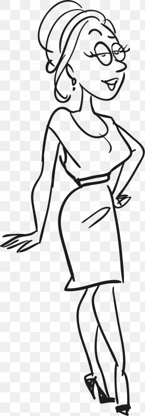 Black Woman With Hip - Black And White Clip Art PNG