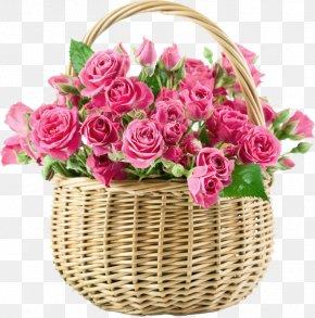 Flower Basket Physical Map - Flower Bouquet Rose Basket Pink PNG