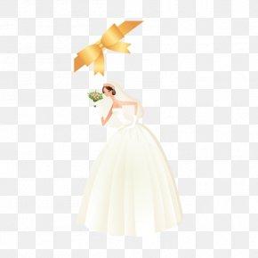 Wedding - Wedding Dress Yellow Petal Gown PNG