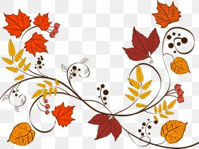 Vector Autumn Leaves - Wedding Invitation Thanksgiving Dinner Save The Date Gift PNG