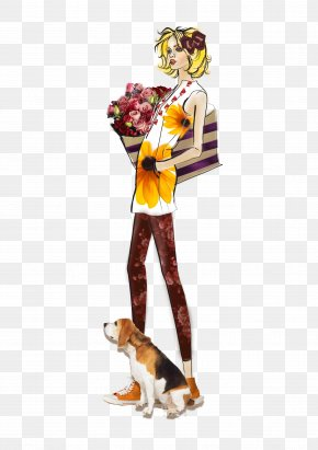 Woman Holding A Flower - Woman Cartoon Dog PNG